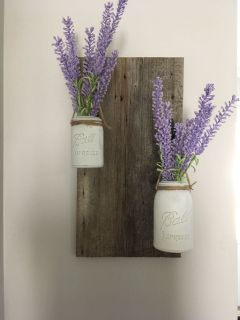 Mason jar/ barn board wall decor