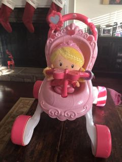 Fisher price stroller, chiming doll, and matching diaper bag