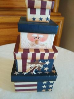 Vintage 1980s heavy parchment patriotic Christmas stacking boxes heirloom piece