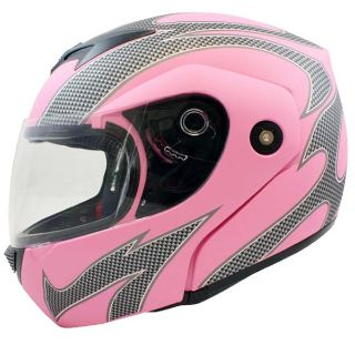 Buy Flat Pink Flame Flip Up Modular Full Face Motorcycle Helmet Street DOT-S / Small motorcycle in Pomona, California, US, for US $34.95