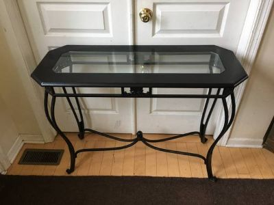 Black Wooden/Wrought Iron Glass Inset Sofa Table/Console