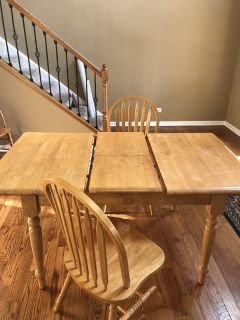 Light Oak kitchen table with 2 chairs