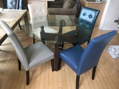 5pc Round Glass Leather Dining Table Set-Beige/Gray/Teal/Blue