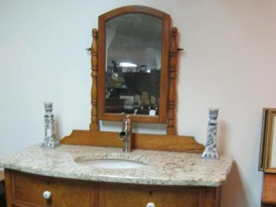 NEW GRANITE VANITY TOP, SINK, AND FAUCET ON ANTIQUE BASE