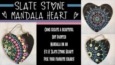 Sacramento Studio 8/26: Mandala Dot Painting ~ Slate Stone Mandala Heart