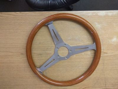 """Find Wood steering wheel 14 1/2"""" 5 hole made in Italy some small marks on wood, used motorcycle in Dedham, Massachusetts, United States"""