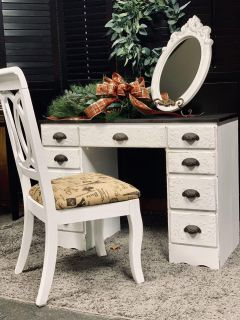 Beautiful Antique Vanity Desk with custom raised detail and chair