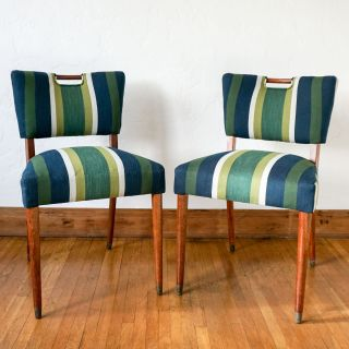 Newly Restored Blue & Green Handle Chair Pair
