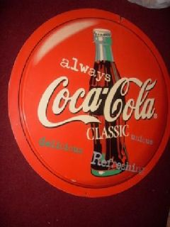 "$50 OBO 27"" Round 2 Sided Plastic Coca`Cola Sign Good Condition With Minor Blemishes"