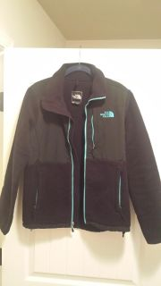 Black and Turquoise North Face Jacket