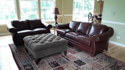 Moving: Quality Furniture By Bradington Young/Leather Couch & Loveseat (mahogany color)
