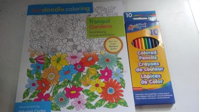 New Teen/Adult Coloring Book w/ Colored Pencils included!