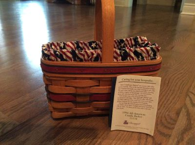Longaberger All American Candle Basket 1994 with liner and plastic protector