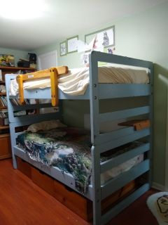 Strong solid wood Bunk Beds made to grow with child until late teenage
