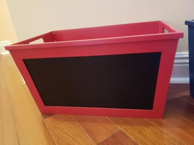 Red wood storage box with chalkboard front