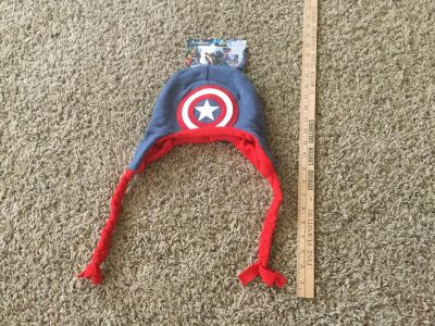 Brand new Captain America winter hat, new with tags, $1.00
