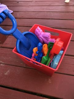 Sand toys (some new, some used once) ((MOVING SALE)) with storage bucket