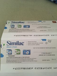 Similac cheques- for trade
