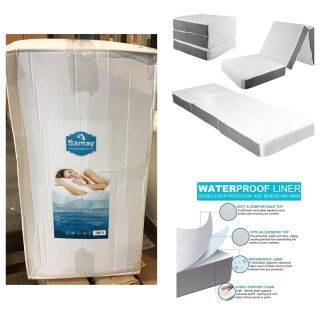 SAMAY 6 Inch Tri Folding Memory Foam Mattress - Includes Waterproof Mattress Protector and Washable Cover