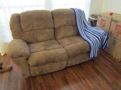 Rocking recliner love seat and swivel bar stools