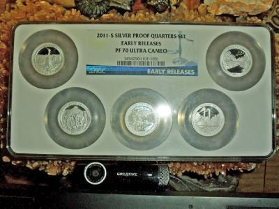 2011 S Silver Proof Quarters Set Early Releases PR 70 ULTRA CAMEO in a Block Set