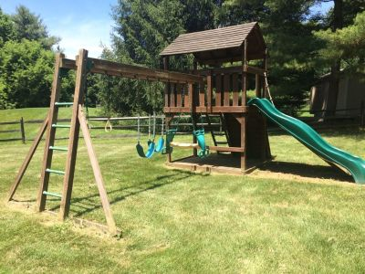 Creative Playthings Lexington model with wood roof gym set