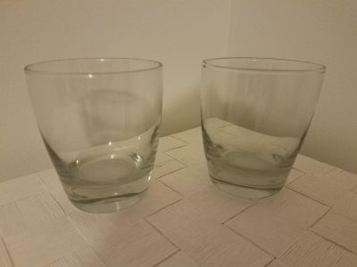 Set of 18 drinking glasses, large and small