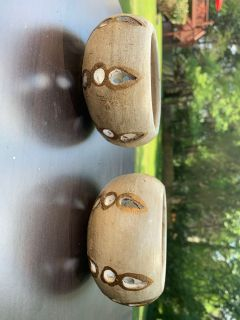 Set of 2 Wooden Candle Holders