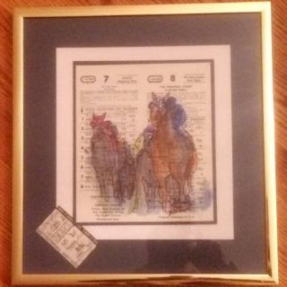 Watercolor of Secretariat, Triple Crown winning horse,Three paintings by Patrish
