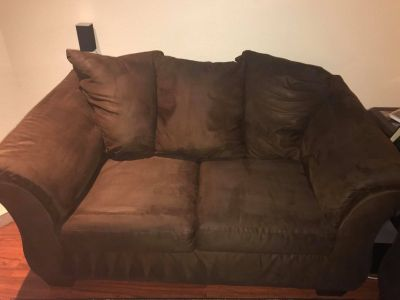 Brown Suede love seat