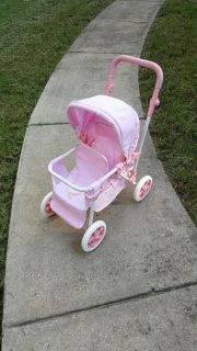 Pink Gingham Double Baby Stroller
