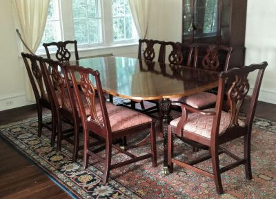 Double Pedestal Inlaid Wood Table & Chairs