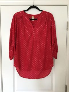 Red and silver flowy blouse
