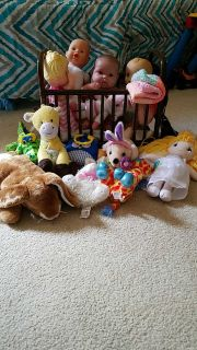 Little girl baby dolls w/doll bed and blanket and stuffed animals