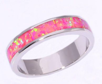 New - Pink Fire Opal Band - Size 7