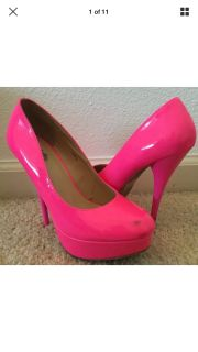 Charlotte Russe Neon Pink Patent Heels Size 7