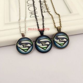SEATTLE SEAHAWKS Glass Cabochon Pendant / Necklace (Superman design) - NEW