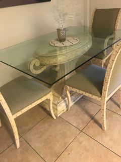 Beautiful Glass Top Kitchen Table