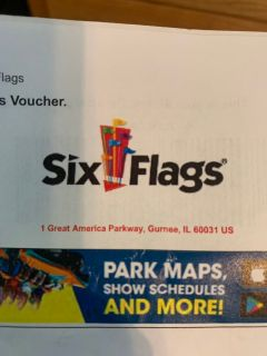 5 tickets and 1 parking pass to Six Flags