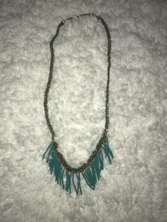 Mid-length Bronze Chain Teal Blue Green Fringe Bead Necklace