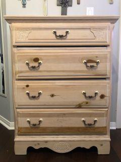4 drawer tall dresser- light brown wood