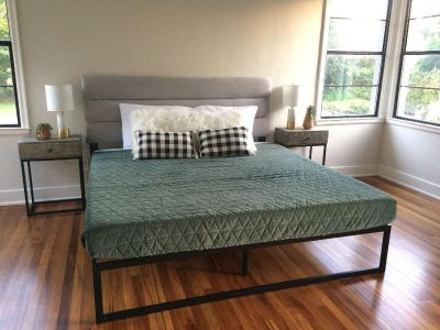 King headboard and black metal bed frame. NEW!