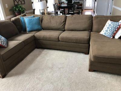 "Sectional sofa, ""Endurance Olive"" color"