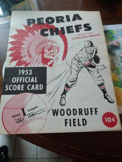 Peoria Chiefs 1953 Score card. In fabulous condition.