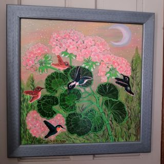 Gorgeous Signed Hummingbirds Painting