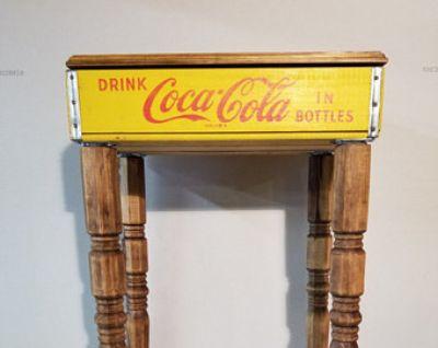 Vintage Yellow Coke Crate Table