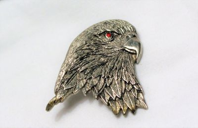 Vintage Eagle Army Navy Air Force Marines Military American Antiqued Silver Tone Brooch Lapel Pi...