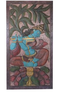 VINTAGE COLORFUL Carved WOOD BarnDoor Panel Krishna Fluting Kadambari Tree 72