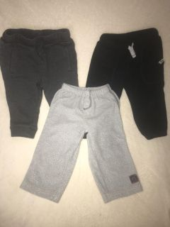 3 pc GUC Lot of jogger/fleece bottoms size 9 to 12 months