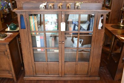 Mission Oak Double Door Bookcase with side shel...